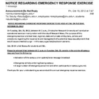 2.7 D Notice Regarding Emergency Response Exercise