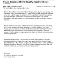 4.12 Email: Steven Breese and David Doughty Appointed Deans