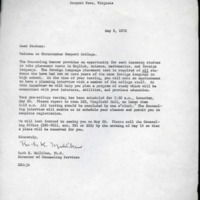 2.9 D Letter To [New] Student From Dr. Ruth K. Mulliken, Director of Counseling Services